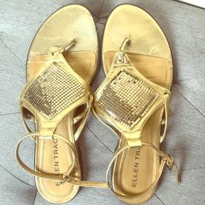 Ellen Tracy gold sparkly sandals worn, life left